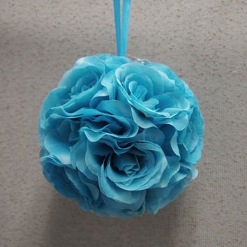 Flower Kissing Balls Wedding Centerpiece, 6-inch, Turquoise