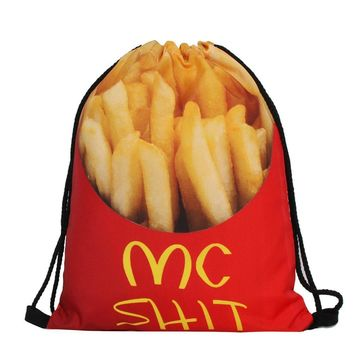 Mc Poop French Fries Funny Design Drawstring Bags Cinch String Backpack