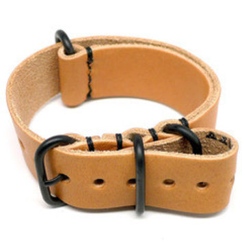 American Made Dual NATO Leather Strap - Natural Essex
