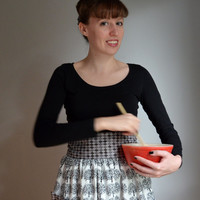 NEW. The Halloween Half Apron in Haunted Woods. Ivory, Gray, Black. Vintage Inspired.