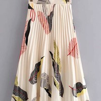 Feather Print Pleated Skirt