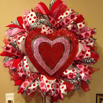 Valentine Wreath - Valentine Deco Mesh Wreath - Red and Pink Valentine Wreath - Valentine Mesh Wreath