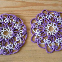 Two Wedding Lace Coasters  - wedding decor - home decor - tatting shuttle