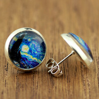 Fake Plugs Stud Earrings : Vincent Van gogh Starry Night Painting, Art, Handmade in Canada by OAKWILDE on Etsy