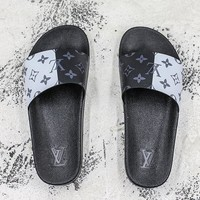 Louis Vuitton Waterfront Mule Sandals Black White Slides Slippers