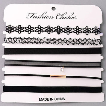 Set of Assorted Styles of Choker Necklaces - Black