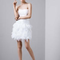 Ruched Charmeuse Gown with Tiered Feathered Skirt - David's Bridal
