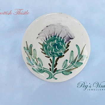 SCOTTISH THISTLE Brooch/Painted Flower On Porcelain, Ceramic BROOCH/Pin, Vintage Jewelry
