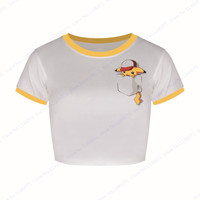 Cap Pikachu Short Sleeve Crop Top Pokemon Go Cheerleader Bare-midriff Tops Yellow O Neck Short Sleeve Women Basic Short Blouse