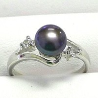 7mm Freshwater Pearl Ring, Dark Blue Button Shape Pearl with 2 CZ Stones on Both Sides, Wave Silver Color Band