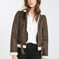 FOREVER 21 Faux Shearling Aviator Jacket Brown/Cream
