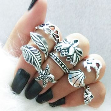 Hot style European and American vintage ring, 8-piece lotus shell leaves starfish set ring.