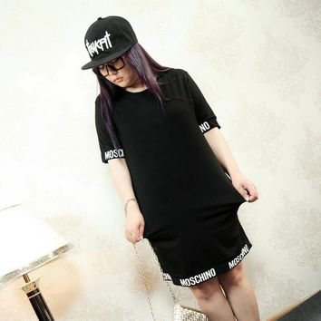 Plus size women Dress Summer XXXXL Big Size Clothing Casual Black Short Sleeve Straight dress XXXL 4XL New 2016 Fashion O neck