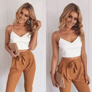 CREYCI7 2017 Women Two Piece Outfits Pants Set Rompers Jumpsuit Long Pants 2 Piece Set  V-neck Crop Tops Bodycon Palysuit