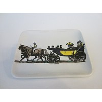 Fornasetti Milano Stagecoach Ceramic Tray Hand Painted Made In Italy