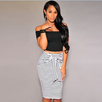 Stylish Stripes Slim Skirt [7767304583]