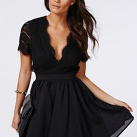 Missguided - Faith Lace Backless Skater Dress Black