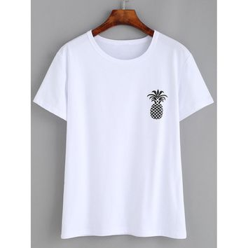 Pineapple Print Loose T-shirt White