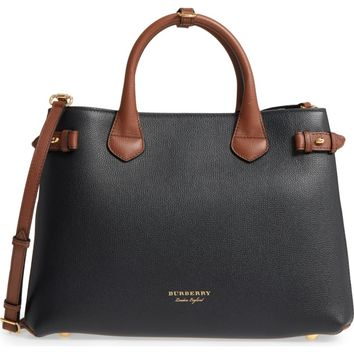 Burberry Medium Banner – Derby House Check Leather Satchel | Nordstrom