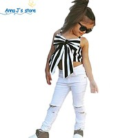 Girls Clothing Sets New Children Girls Clothing Sets Kids Strapless Striped top + pants Suit Clothes