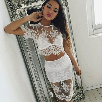 Summer Stylish Lace Dress Set Sexy Hollow Out Blouse Bottom & Top [9266836748]