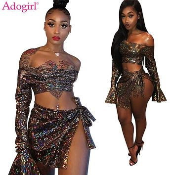 Adogirl Dazzling Diamond Night Club Two Piece Set Women Sexy Slash Neck Off Shoulder Flare Sleeve Crop + Top Bow Tie Mini Skirt