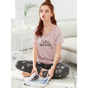 Multicolor Cat And Letter Print Pajama Set