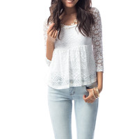 Cinched Waist Lace Overlay Top in White