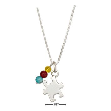 "STERLING SILVER 18"" PUZZLE PIECE AUTISM AWARENESS PENDANT NECKLACE WITH BEADS"