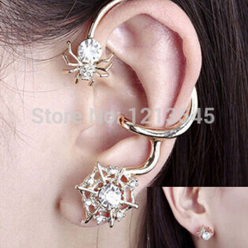 New arrival crystal spider ear clip earring ear cuff personality earrings 2015 fashion explosion models YS-C-C15
