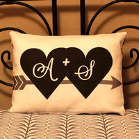 """12""""x16"""" Initials Pillow - Custom Pillow Original Design & Fabric -Personalized Gift for Couples, Wedding, Anniversary, Engagement, Christmas"""
