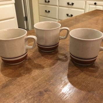 Set of 3 - CHATEAU STONEWARE CONTEMPORARY JAPAN SIENNA BROWN COFFEE TEA CUP MUG