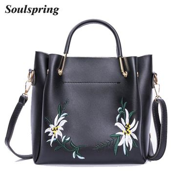 Fashion Floral Women Composite Bags Embroidery Tote Bag Designer Handbags High Quality Shoulder Ladies Hand Bags Metal Handle