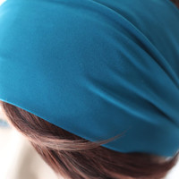 Teal Turquiose Turban Head Wrap / Band, Women's Wide Headband, Turband, Stretch Fabric, Stretchy Yoga Headband, Hair Accessories,