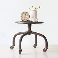 Vintage Industrial Stool, Metal Stool on Wheels