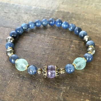 Tranquility and Protection, Kyanite and Fluorite Bracelet