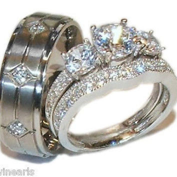 Low Priced Wedding Set His Hers 3 Stone Wedding Engagement Ring Set