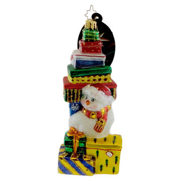 Christopher Radko SNOW STACK Blown Glass Ornament Christmas Snowman