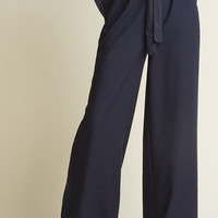 High-Waisted Wide-Leg Trousers in Navy