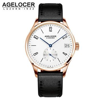 Swiss AGELCOER Antique Watch Wristwatch Men 2016 Top Brand Luxury Famous Male Clock Gold plated Dial Dive 50m For Water Sports