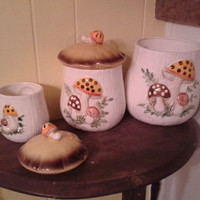PRICE REDUCED Vintage Merry Mushroom Dish collection from Sears & Roebucks 1970s