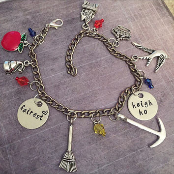 Fairest Of Them All Charm Bracelet - Fairytale Jewelry - Once Upon A Time Jewelry - Princess Jewelry - Snow White Inspired Jewelry - OuatABC