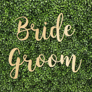 Bride Groom Sign Printed and Unprinted Signs Trendy Unique