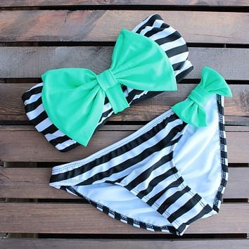 Final Sale - Dippin Daisy - Striped Sailor Gal Bow Bikini in Mint and Black
