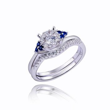 Newshe Pure 925 Sterling Silver Wedding Rings Engagement Bridal Sets Special Blue Side Stone Fashionable Jewelry For Women