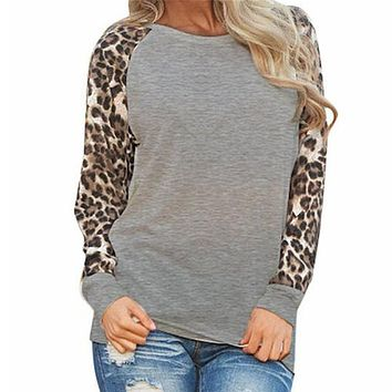 Leopard Womens Tops And Blouses Long Sleeve Blouse Patchwork Shirt Tunic Tee Shirt Femme Blusas Mujer