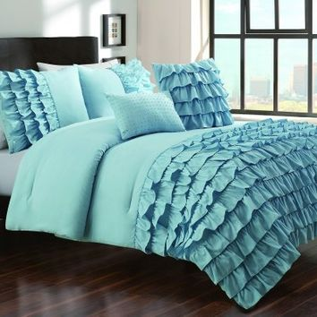 5-pieces Cottage Blue Textured Ruffle Comforter Set with Jeweled Pillow, Queen / Full