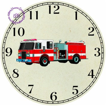 """Red Fire Truck Art - -DIY Digital Collage - 12.5"""" DIA for 12"""" Clock Face Art - Crafts Projects"""