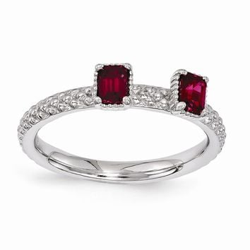 Sterling Silver Stackable Expressions Simulated Ruby Two Stone Ring
