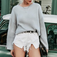 Casual loose women knitted sweater Long sleeve buttons pullover female jumper Chic o neck ladies sweaters